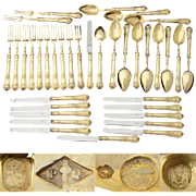 RARE Gorgeous 36pc Antique French 18k Gold on Sterling Silver Vermeil Dessert Service, Legion of Honor Cross & Monogram