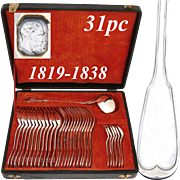 """Antique French 1819 Sterling Silver 31pc Dinner Sized Flatware Set, """"Filet"""", in Original Chest"""