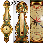 "Antique 18th C. Italian 38"" Wall Barometer, Gilt & Verdigris Carved Wood, Selon Torricelli"