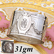 "Antique French Sterling Silver Napkin Ring, Bow & Ribbon, Floral Garland Decoration, ""CM"" Monogram"