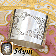 Fabulous Antique French Sterling Silver Napkin Ring, Foliate & Textured Decoration, No Monogram