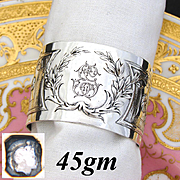 "Antique French Sterling Silver Napkin Ring, Ornate French Empire Style Decoration, ""EG"" Monogram"