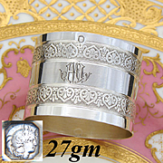 "Antique French Sterling Silver Napkin Ring, Baroque Style Bands Decoration, ""HM"" Monogram"