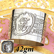 "Antique French Sterling Silver Napkin Ring, Classical Guilloche Style Decoration, ""GL"" Monogram"