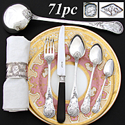 Exquisite Antique French Sterling Silver 71pc Flatware Set, Louis XV or Rococo Pattern, 5pc Place Setting