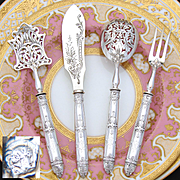 "Antique French Sterling Silver 4pc Hors d'Oeuvre Serving Set, Gothic ""Fer de Lance"" Pattern, ""HG"" Monograms"