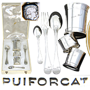 "PUIFORCAT Vintage French Sterling Silver 6pc Christening Set: Tumbler, Napkin Ring, Flatware, ""Jean Paul"""