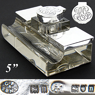 """Elegant Large Antique English Sterling Silver & Cut Crystal 5"""" Inkwell, Dual Stamp Boxes"""
