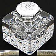 Rare Antique American Brilliant Cut Crystal & Tiffany & Co. Sterling Silver Inkwell, Facet Cut Base