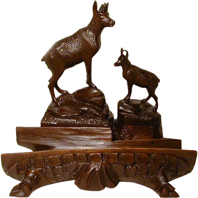 Antique Black Forest Figural Chamois Inkwell, Stamp Box