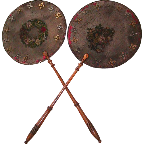 Antique French Embroidered Victorian Fire Screen  PAIR - 2 (Hand Fan Style)