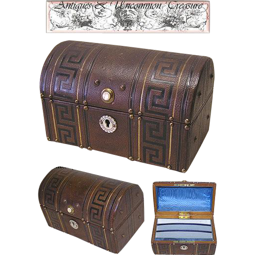 Superb Antique French Tooled Leather Stationery/Desk Box/Casket, MOP!