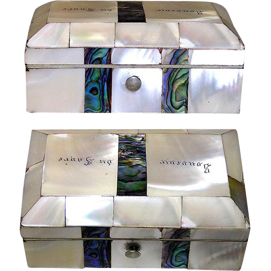 Antique French Mother of Pearl and Abalone Casket, Souvenir of the Loire Valley