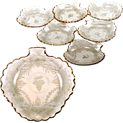 Set of 6 Intaglio Engraved & Gilt French Glass Dessert Plates, Antique Bowls