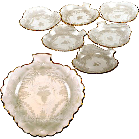Set of 6 Intaglio Engraved & Gilt French Glass Dessert Plates, Antique Bowls