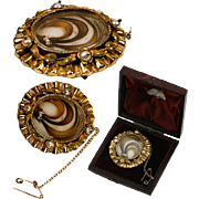 Antique French Hair Art Brooch, 18K Gold in Dome Box