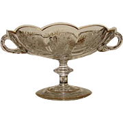 Antique Moser Etched Glass Compote or Bonbon, Gilded