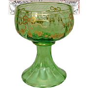 Antique Green Glass Goblet or Sorbet Cup, Raised Gold Enamel