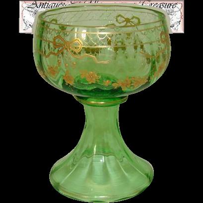 Antique Green Glass Goblet or Sorbet Cup, Raised Gold Enamel