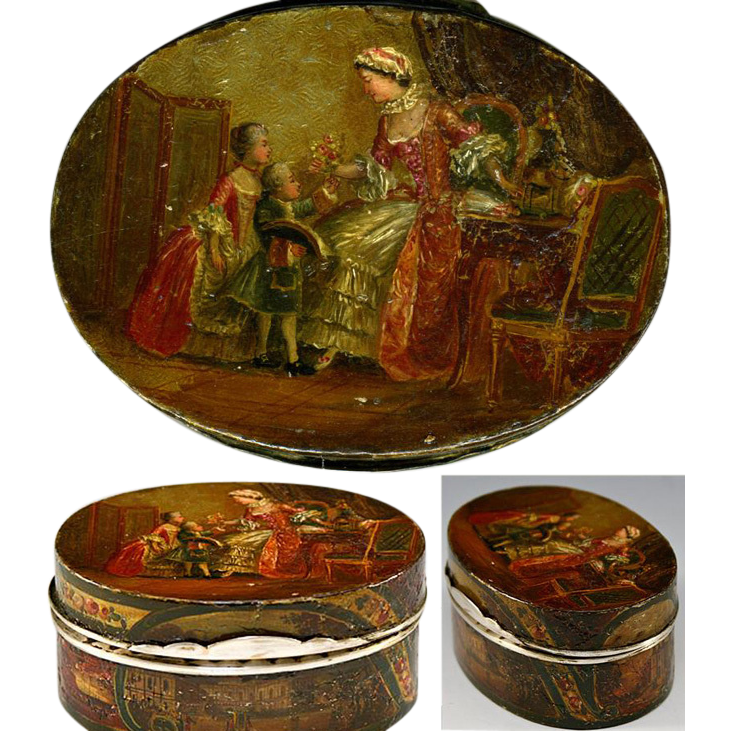 RARE Antique Vernis Martin 1700s Table Snuff, Etui - Marie-Antoinette & Versailles paintings