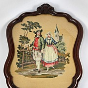 Antique Breton French Costumes, Walnut Frame, Needlepoint, Needlework