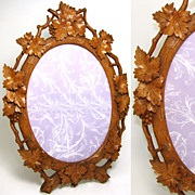 """Large Antique Black Forest Carved 16"""" Picture Frame, Reticulated Vines & Foliage"""