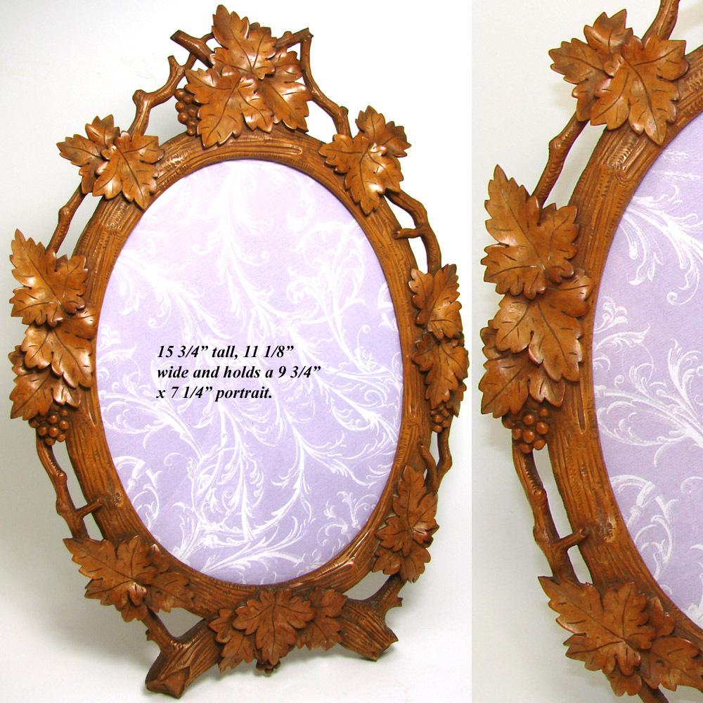 Large Antique Black Forest Carved 16 Quot Picture Frame