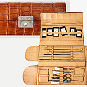 Antique Folding Needlework Case, Etui, Set, Filled with Implements and Tools. Alligator?