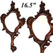 "Antique Victorian Era Hand Carved 16.5"" Vanity or Hand Mirror, Frame - Very French and Fabulous!"