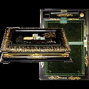 Fine 19th C. Papier Mache Writing Box/Slope, HP & MOP Decoration