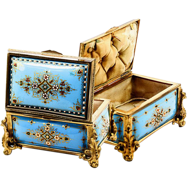 Celeste Blue! Antique TAHAN, Paris, French Kiln-fired Enamel Jewelry Casket, Box, Dore Bronze Frame