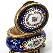 Navy Blue! Antique TAHAN, Paris, French Kiln-fired Enamel Jewelry Casket, Box, Dore Bronze Frame