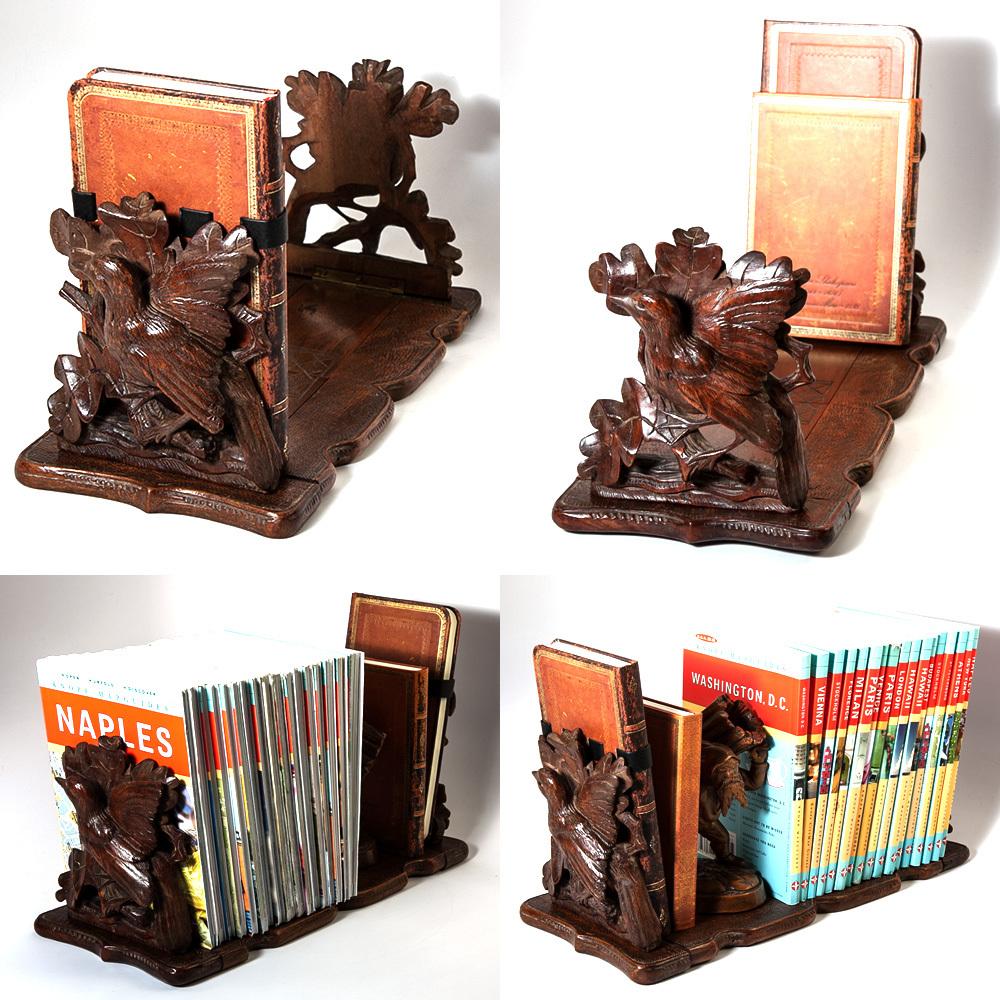 Antique Black Forest Carved Tabletop Book Rack Stand