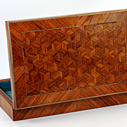 Antique French Parquet Worked Desk or Jewelry Box or Cigars Box, Napoleon III era, c. 1850-70s