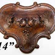 """Antique French Hand Carved Wood Architectural Salvage Ornament, Floral  13.75"""" x 11.5"""""""