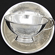 LG Antique French Sterling Silver Chocolate, Bouillon or Tea Cup & Saucer, Floral & Foliate Decoration