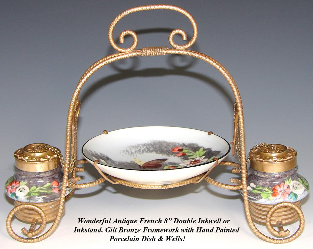 "Antique French Napoleon III 8"" Double Inkwell or Inkstand, HP Porcelain & Gilt Ormolu"
