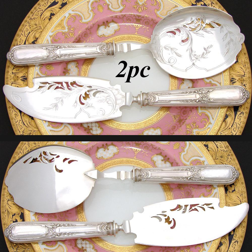 Antique French Sterling Silver 2pc Ice Cream or Dessert Serving Implements in Orig. Fitted Box