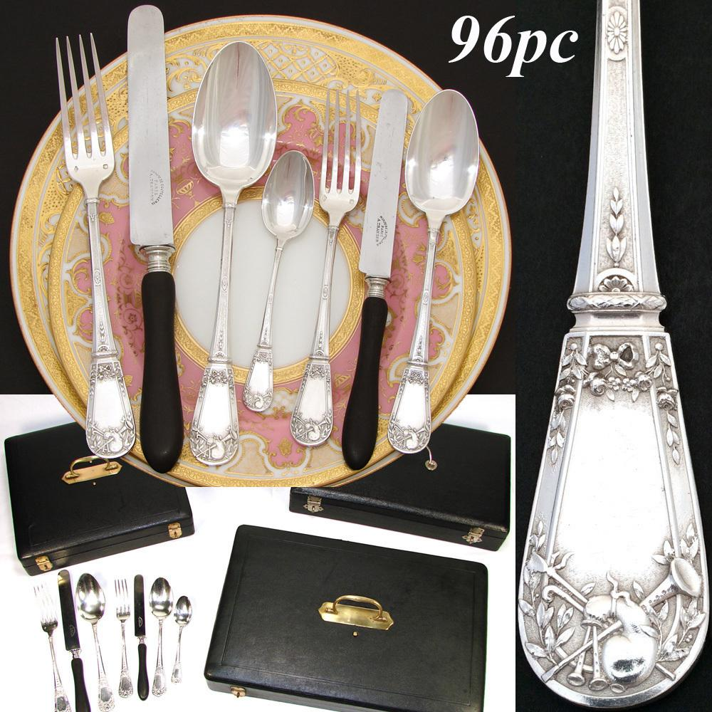 Exquisite Antique French Sterling Silver 96pc+ Flatware Set, NeoClassical Style Pattern with Musical Instruments