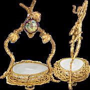 "Antique French Opaline ""Egg"" Vide Poche, Gilt Bronze Wire Nest, Pocket Watch or Pendant Display"