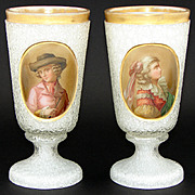 Rare Antique French Portrait Goblet or Chalice PAIR, Ice or Crackle Glass