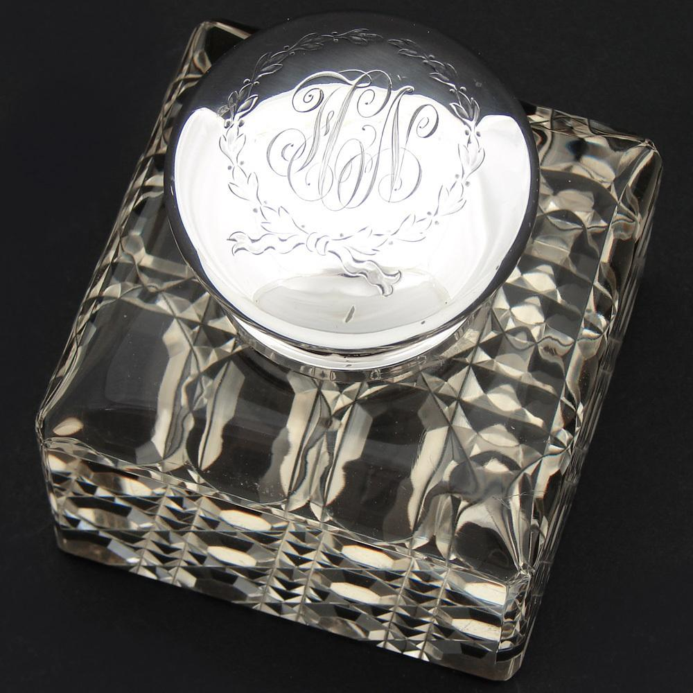 "LG Antique American Sterling Silver & Brilliant Cut Crystal 3.5"" Inkwell, Facet Cut Base"