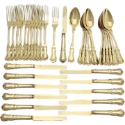 Stunning 36pc Antique French 18k Gold (Vermeil) on Sterling Silver Flatware Set, Dessert or Luncheon Size