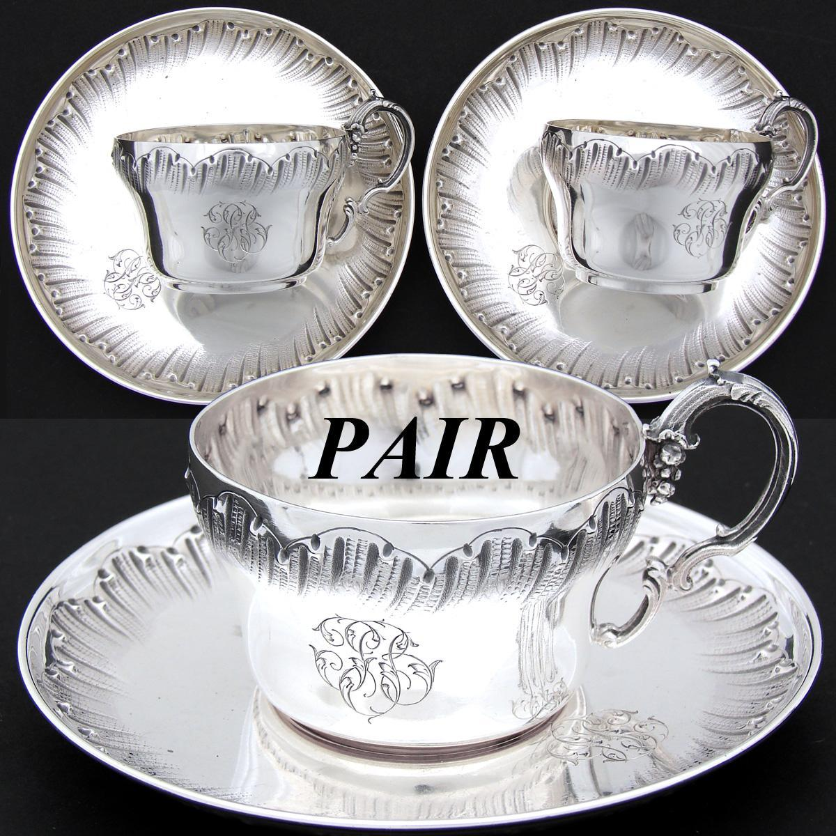 PAIR of Antique French Sterling Silver Demitasse Sized Tea Cup & Saucer Set, 4pc, Rococo Style