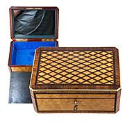 Antique French Parquet Desk Box, Cigar or Jewelry Casket, Napoleon III era, Lock w Key