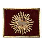 Antique Hand Embroidered Silver & Gold Thread Lamb, Pope Pius X Alter Cloth in Frame