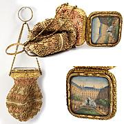 Antique c.1850 Paris Souvenir Chatelaine Bead Purse, Bag, Eglomise View: Palais Royal, Grand Tour