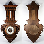 Fine Antique Carved Wood Cased Wall Aneroid Barometer, Thermometer, Fruit, Shell Motif