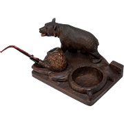 Antique Black Forest Bear Pipe Smoker's Stand, Tobacco Tray, Hand Carved