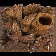 Remarkable Antique Black Forest Carved Birds Match Stand, Spill Vase, L@@K